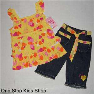 HEARTS Girls 2T 3T 4T Set OUTFIT Shirt Top Tank Pants Capris