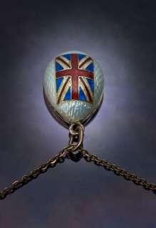 CARL FABERGE Enameled Egg Pendant with British Flag c. 1915