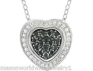 PRETTY BLACK AND WHITE DIAMOND HEART PENDANT NECKLACE