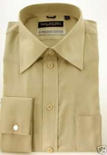 Mens 100% Cotton Dress Shirt French Cuff Solid Beige