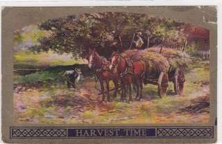 Pretty horse old 1900s farmer farm scene horses 1909 postcard