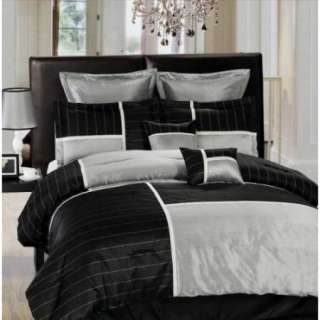 New Bed in a Bag Metallic Black Silver Striped Comforter Set   Full