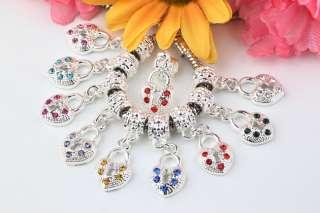 30 Heart Dangle European Charm Fit Bead Bracelet CH644