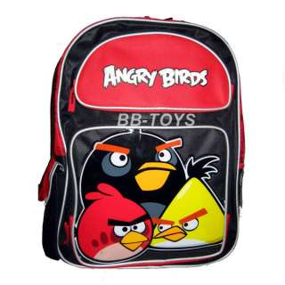 Red Yellow Black Angry Birds Large Backpack 16 x 12 x 14