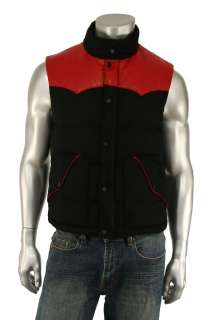 Ralph Lauren Black Label Wool Leather Down Vest M New $995