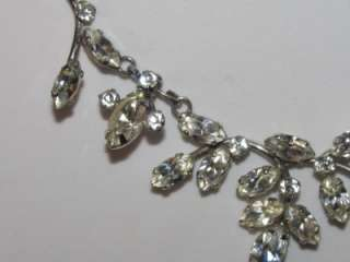 Vintage Signed VAN DELL STERLING Silver Clear Rhinestone Necklace