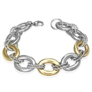 Stainless Steel Two Tone Twisted Circle Oval Link Womens Bracelet