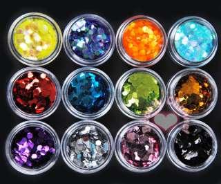 12 Big Hexagon Glitter Nail Art Deco Kit Acrylic UV Powder Dust Polish