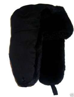 MENS RUSSIAN FUR COSSACK HAT winter ski black trapper L