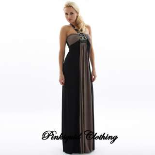 BLACK GOLD LADIES LONG GRECIAN MAXI DRESS 8 10 12 14 16