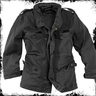 MILITARY M65 WASHED JACKET MENS ARMY WINTER FIELD PARKA BLACK