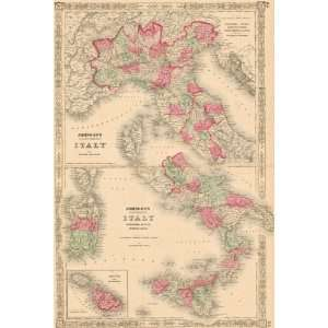 Johnson 1864 Antique Map of North and South Italy   $219