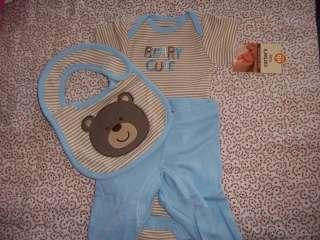 Carters Beary Cute Blue Brown Set, Velcro Bib, Onesie, Pants NB Boy 5