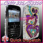 PURPLE HEART DIAMOND BLING CRYSTAL GEM CASE COVER FOR SAMSUNG CHAT CH