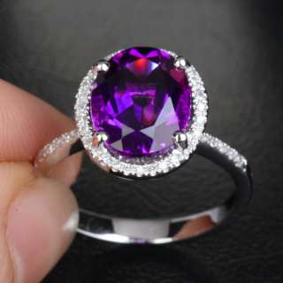 Dark Purple AMETHYST PAVE DIAMOND 14K WHITE GOLD Halo Engagement RING