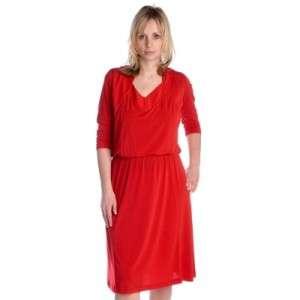 Designer George Simonton 3/4 Sleeve Knit Blouson Drape Dress Red