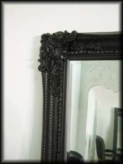 Large French Ornate 6ft Black Wall Full Length Mirror