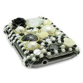 Black Flower Pearl Diamante Case for HTC Wildfire S + P