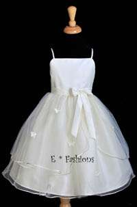CLEARANCE! IVORY BUTTERFLIES WEDDING FLOWER GIRL DRESS 12M 18M 2 2T 4