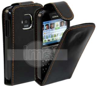 BLACK FLIP LEATHER CASE COVER II FOR NOKIA E5 + FILM