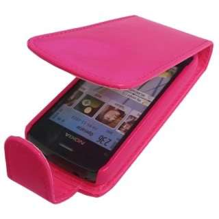 HOT PINK PU LEATHER FLIP CASE COVER FOR NOKIA C5 03 UK