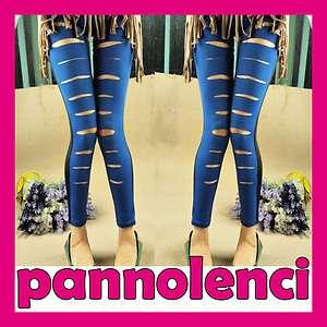 Leggings pantaloni BLU ELETTRICO NERO leggins donnaripped style DL