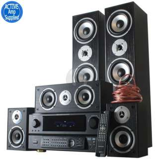 Surround Sound Home Cinema Speaker System and DSP Amplifier + Cables