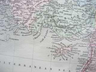 TURKEY in ASIA CYPRUS GENUINE ANTIQUE MAP S. Hall 1854