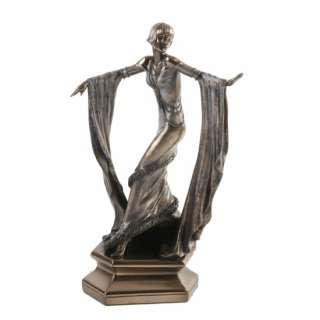 Cold Cast Bronze Art Deco Style Bronzed Sculpture Of Dancing Lady
