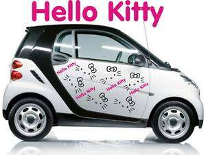 HELLO KITTY kit adesivi 10pz. SMART,FIAT 500 Microcar