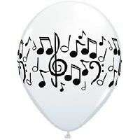 MUSIC PARTY DECORATIONS 50 BLACK & WHITE MUSIC NOTES LATEX PARTY