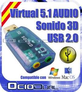 ADAPTADOR USB 2.0 DE AUDIO 5.1 TARJETA SONIDO PARA WINDOWS , VISTA