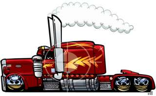 SEMI BIG RIG TRUCK SLEEPER CAB CARTOON T shirt #9105