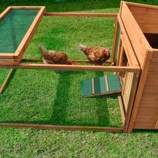 Chicken Coop House Hutch Cage + RUN Wooden Hen Rabbit Chook Cabin