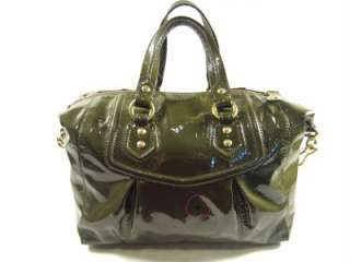 Coach Madison Audrey Patent Olive Green Leather Satchel Shoulder Bag