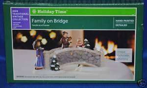 Holiday Time~Christmas Village~Vintage~Family on Bridge