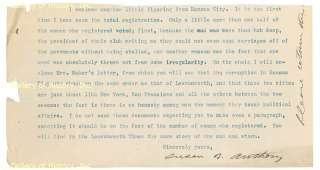 SUSAN B. ANTHONY   TYPED LETTER FRAGMENT SIGNED