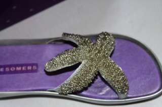 NEW Suzanne Somers SZ 9.5 SILVER Beaded Starfish Wedge Sandals open