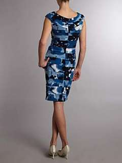 Linea Splodge print jersey dress with banded detail Navy   House of