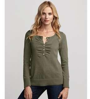 Eddie Bauer Women Sweaters & Cardigans Long Sleeve Gathered Henley