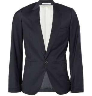 Clothing  Blazers  Single breasted  Inlaid Detail Wool Blazer