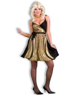 Disco Dance Party Gold Dress Adult Costume