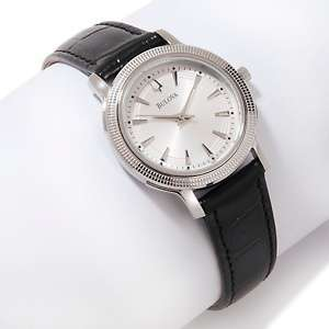 Bulova Ladies Black Leather Strap Watch