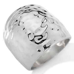 Stately Steel Hammered Dome Stainless Steel Ring