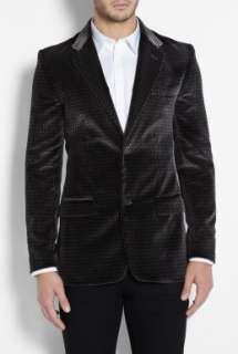 Marc Jacobs  Black Printed Velvet Slim Blazer by Marc By Marc Jacobs