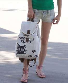 Korean style Ladys Girls cafe Cat Canvas backpack handbag shoulder
