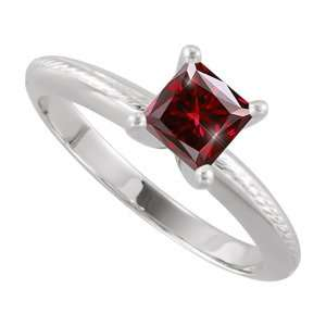 Solitaire 14K Yellow/White Gold Ring with Deep Red Diamond 1/4 carat