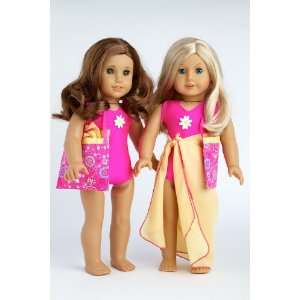 swimsuit, yellow wrap and beach bag; fits 18 inch American Girl doll