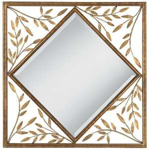 Golden Branches 30 Square Metal Openwork Wall Mirror