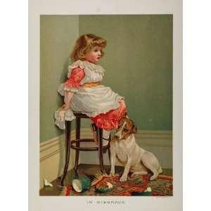 1888 Antique Chromolithograph Little Girl Dog RARE